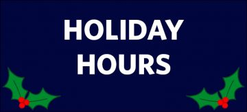 2016 December Holiday Hours