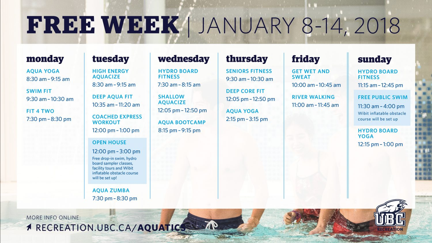Free Week at the UBC Aquatic Centre