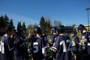 Team huddle at SFU.