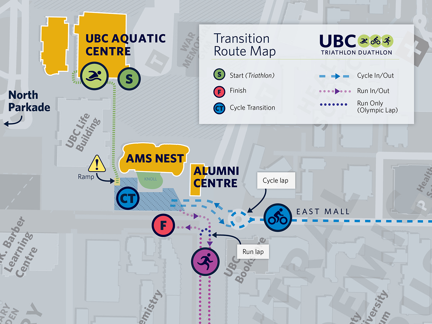 2019 UBC Triathlon Duathlon Transition and Run Lap Map