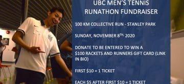 UBC TSC Men's Tennis Runathon FUNDRAISER