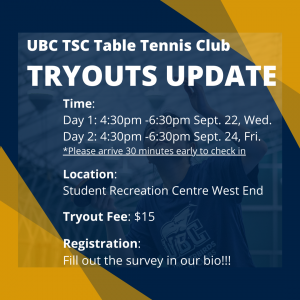 UBC TSC Table Tennis Club Tryouts Updates